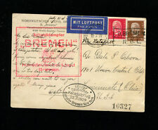 Catapult Cover 1929 Grau K1d Germany Seapost on B/W SS Bremen Postcard Passenger