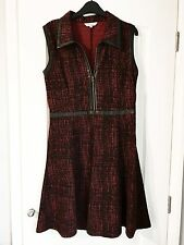 Peacocks Womens Black & Red Dress With Zip Front & Leather Detail - Size 12