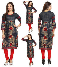 UK STOCK - Women Bollywood Indian Long Kurti Tunic Kurta Top Shirt SC1104