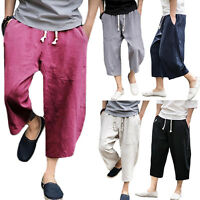 Men's 3/4 Knee Wide Leg Casual Loose Baggy Pants Trouser Short Harem Sweatpants