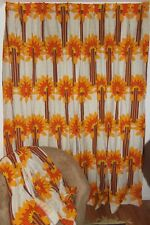 "2 Vintage Groovy Mod Retro 1970's Pinch Pleat Curtain Drapery Panels 92"" Long"