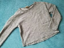 girl 6-7 7 years long sleeve short top grey striped from Zara