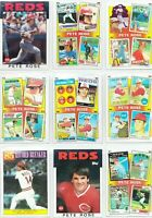 Pete Rose 1963 - 1986 ROOKIE Reds Topps Baseball Lot of 9 Cards