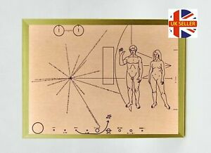 Pioneer Plaque, Space Memorabilia, Mounted Display on large black or gold frame