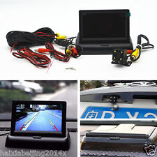 Car Rear View Foldable Monitor Display 4 LED Night Vision Reverse Parking Camera