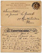 GB QV cartoleria carta vende agenzia pubblicitaria STO 1892 in Francia