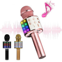 Wireless Bluetooth Karaoke Microphone Stereo Mic KTV USB Speaker Player WS-858