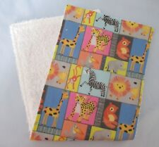 Handmade Baby Burp Cloth, Jungle Animals, Towelling Back - Great Gift Idea