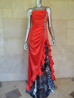 Alyce Designs New Red Stones Sleeveless Padded Formal Evening Gown Dress Sz 2