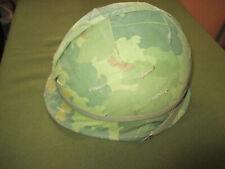 US Vietnam era Steel Helmet with Mitch cover, Rear seam, swivel bales, Camo Band