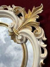 Miroir mural ovale or baroque de sale bain ancien 60X39 C462