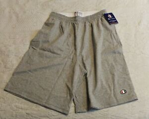 """Champion Men's Authentic Cotton Jersey 9"""" Shorts SV3 Light Gray Small NWT"""