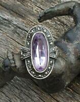 Alter Silber 925 Oval Verziert Ring mit Markasiten & Amethyst Damen Gr. 55 / 56