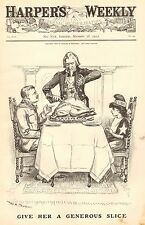 Political Cartoon, Cuba, Roosevelt, Give Her A Generous Slice,Vintage 1903 Print