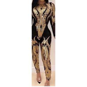 Black & Gold Sequin Bodysuit