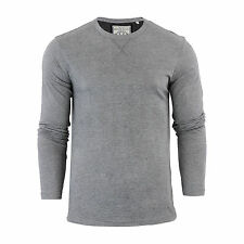 Mens T-shirt by Brave Soul Prague Cotton Long Sleeved Crew Neck Casual Top LT Grey Marl Large