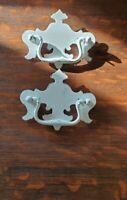Brass Drawer Pulls Chippendale Drop Bail Pulls 3 in centers White Hand Painted