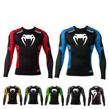 Men Base Layer T-shirt Gym Sport MMA Rashguard Slim Fit Short Long Sleeve Top