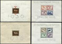 GERMANY Deutsches Reich #B90 #B91 #B92 #B105 Souvenir Sheet Collection MLH MNH