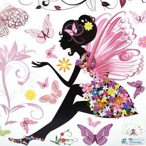 Wall Sticker Fairy Flower Butterfly Vinyl Art Decal Girl Decoration Household