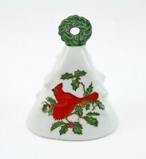 Vintage 1960s Lefton Christmas Tree, Cardinal Bird Bell Figurine Ornament #1205