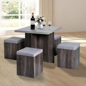 4 Seat Square Dining Table Concrete Grey Stools Cement Space Saving Kitchen Set