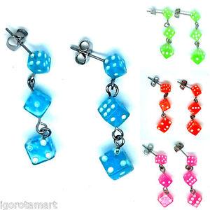 Earrings Dice Ear Drop Stud Studs Dangle Pair