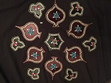 Acrylic Transparent Studded Decorative Big Rangoli Designs-Red/Green-USA Seller