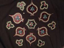 Acrylic Transparent Studded Decorative Big Rangoli Designs-Red/Green-USA Seller