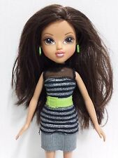 2009 MGA Moxie Doll Brunette #4 Brown Eyes Black and Silver Jean Dress Boots EUC