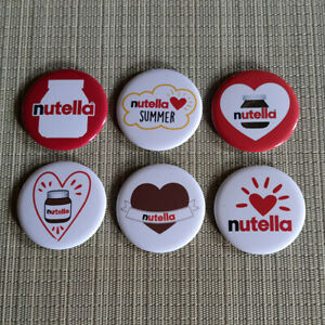 6 Nutella / Buttons / Pins / Badges / 2.25 Inch / 56 mm / Top / Rar