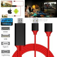 USB Type C Lightning to HDMI w/Charging Cable for Samsung Galaxy S9 Plus iPhone