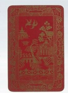 Swap Playing Cards 1 N.VINT ORIENTAL LACQUER EXQUISITE GOLD  BIRDS TEMPLES EW184