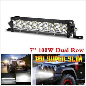 "12D 7"" Ultra Slim LED Light Bar Dual Row Spot Fog Lamp Car Off-road Work Light"