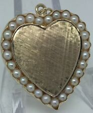 VINTAGE Solid 14k Heart Pendant with Genuine Pearls Custom Piece - One Of A Kind