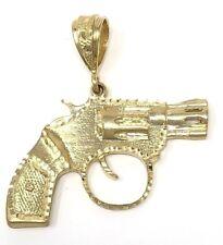 "Ouro Amarelo 10k Diamante Corte Grande Arma Pistola Revolver Pingente 3"" 40.5 Gramas"