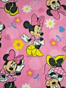 DISNEY Pink Minnie Mouse Fleece Blanket Thin Satin Trim Daisy Flower 32x45 Soft