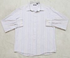 Kenneth Cole Dress Shirt Long Sleeve Striped Large Cotton White Orange Purp 1-24
