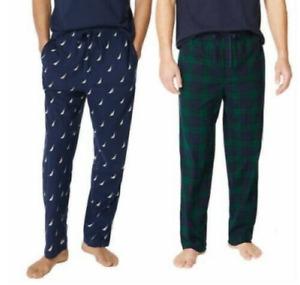 Nautica Men's Sueded Fleece Pajama Pants 2 Pack, Navy Logo/Navy Green, MEDIUM