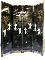 oriental furniture screen 6'x4 panels black lacquer screen