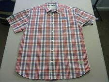 037 MENS NWOT NAUTICA JEANS CO WHITE / RED / GREY CHECK S/S SHIRT LRG $100 RRP.