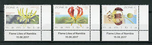 Namibia 2017 MNH Flame Lilies 3v Set Lily Flora Flowers Stamps