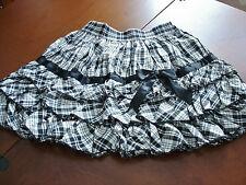Bodyline Sweet Lolita Black and Grey Tartan Tiered Ruffle Mini Skirt Size M NWT