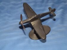 VINTAGE WW2 SOLID BRASS MODEL OF A SPITFIRE AEROPLANE ON STAND