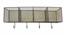 4 Wire Mesh Baskets Wall Hanging Storage Unit With 4 Hooks - Black YF1103