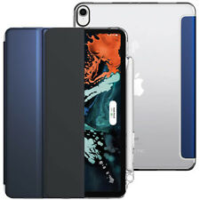 For Apple iPad Pro 11 2018 Soft Silicone Back Case Smart Trifold Cover Navy Blue