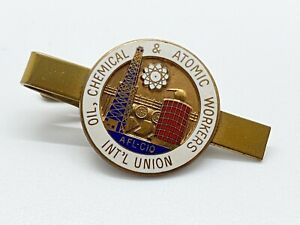 Oil Chemical & Atomic Workers Int'l Union Vintage Enamel Tie Bar Clip AFL-CIO s7