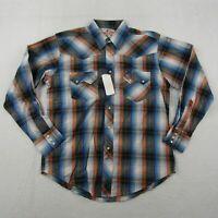 New Wrangler Pearl Snap Shirt Adult Medium Men Black Blue Cowboy Western Rodeo