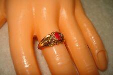 Vintage 10k Yellow Gold Ruby Diamond Ring Size 7 repair or scrap 2.8 grams