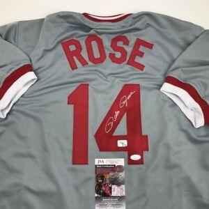 Autographed/Signed PETE ROSE Cincinnati Grey Baseball Jersey JSA COA Auto